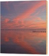 Awesome Fiery Red Clouds At Dusk Reflected On Dead Calm Santa Rosa Sound Wood Print