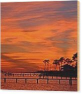 Awesome Fiery Sunset On Sound With Cirrus Clouds And Pines Wood Print