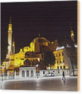 Aya Sophia In Istanbul Turkey At Night Wood Print by Raimond Klavins