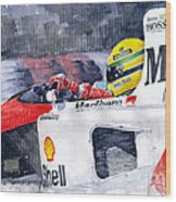 Ayrton Senna Mclaren 1991 Hungarian Gp Wood Print