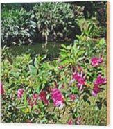 Azaleas By The Pond Wood Print