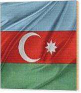 Azerbaijan Flag Wood Print by Les Cunliffe