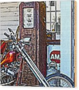Aztec And The Gas Pump Wood Print
