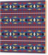Aztec Blue Pattern Wood Print