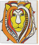 Golden Aztec Lion Wood Print
