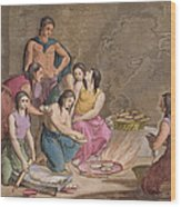 Aztec Women Making Maize Bread, Mexico Wood Print