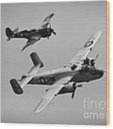 B-25 And Escort Bw Wood Print