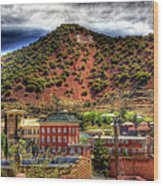 B Hill Over Historic Bisbee Wood Print
