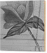B W Wood Flower Wood Print