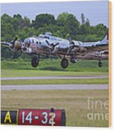 B17 Bomber Taking Off Wood Print