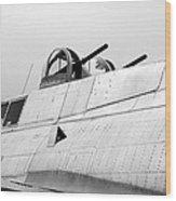 B17 Bomber Top Turret Guns Wood Print