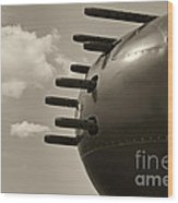 B25 Mitchell Bomber Airplane Nose Guns Wood Print