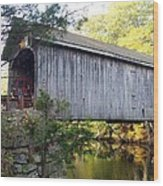Babbs Covered Bridge In Maine Wood Print