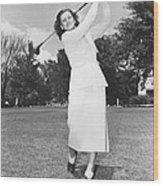 Babe Didrikson Golfing Wood Print
