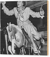 Babe Didrikson On Sidesaddle Wood Print