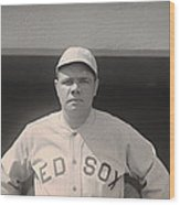 Babe Ruth With The Sox Wood Print