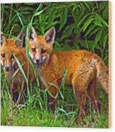 Babes In The Woods Impasto Wood Print