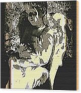 Baby Angel With Teddy Wood Print