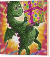 Baby Birthday Dragon With Present Wood Print