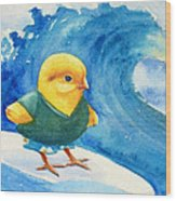 Baby Chick Surfing Wood Print