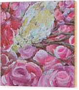 Baby Dove Of Peace Pink Flowers Wood Print