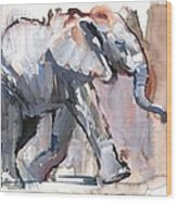 Baby Elephant, 2012 Mixed Media On Paper Wood Print