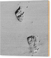 Baby Footprints On The Beach Wood Print