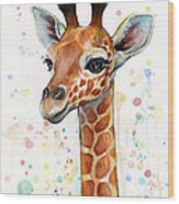 Baby Giraffe Watercolor  Wood Print
