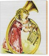 Baby Girl With A French Horn Wood Print