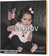 Baby Girl With An American Flag And Voting Sticker - Limited Edition Wood Print by Hisham Ibrahim