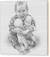 Baby Girl With Dolls Pencil Portrait Wood Print