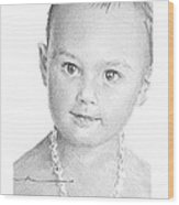 Baby Girl With Necklace Pencil Portrait Wood Print