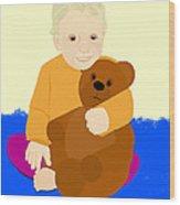 Baby Holding Teddy Bear Wood Print