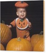 Baby In Pumpkin Costume Wood Print