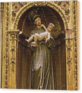 Baby Jesus And A Monk Sculpture Wood Print
