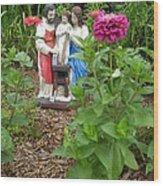 Baby Jesus In Garden Wood Print