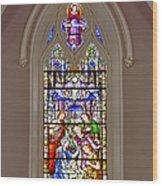 Baby Jesus Stained Glass Window Wood Print