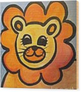 Baby Lion Wood Print by Lyn Vic