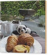 Baby Panda And Croissant Rolls Wood Print
