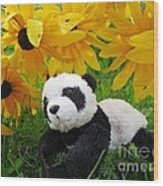 Baby Panda Under The Golden Sky Wood Print