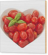 Baby Plum Tomates In A Heart Shaped Bowl Wood Print