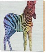 Baby Rainbow Zebra Wood Print