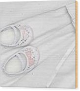 Baby Shoes On Dress Wood Print