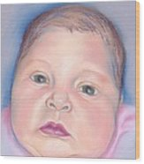 Baby With Wide Eyes And Chubby Cheeks Wood Print