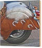 Back Of Indian Customized Motorcycle Wood Print