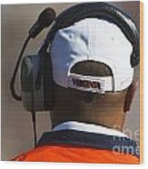 Back Of Mike London Head With Headset Virginia Cavaliers Wood Print by Jason O Watson