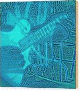Back Porch Pickin' Pop Art In Blue Wood Print