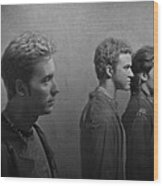 Back Stage With Nsync Bw Wood Print by David Dehner