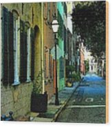 Back Street In Charleston Wood Print