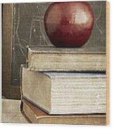 Back To School Apple For Teacher Wood Print
